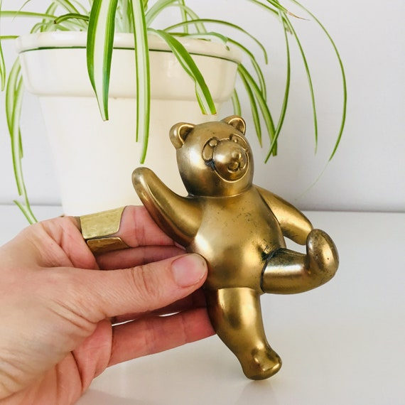 Vintage Brass Bear Hook Wall Hanger Brass Panda Coat/Key Hook Kids Room Decor