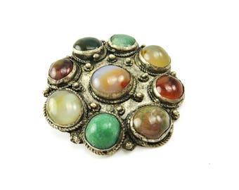 Agate Brooch Silver Semi Precious Stones Chunky Statement Jewelry Bohemian Antique Jewelry