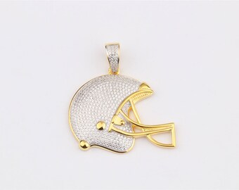 Football Helmet Pendant 14k Gold Plated on 925 Sterling Silver with AAA Cubic Zirconia