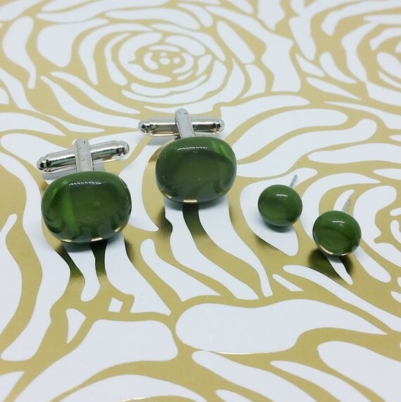 Forest Green Matching Glass Cuff Links and Earrings, Wedding, Prom or Formal Attire