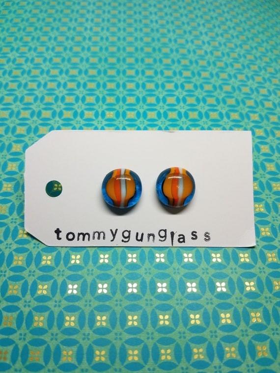 Beachball Blue, Orange, and White Glass Stud Earrings