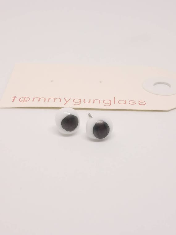 White and Gray Glass Stud Earrings