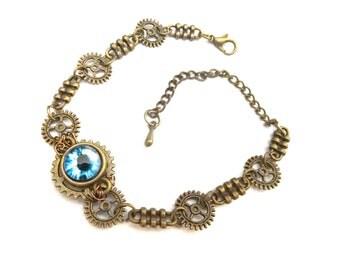 Steampunk blue eye bracelet