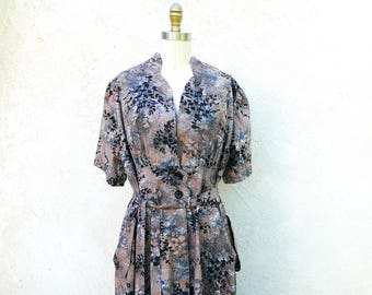 Vintage 40s Plus Size Dress, Rare Cotton 1940 Print Frock