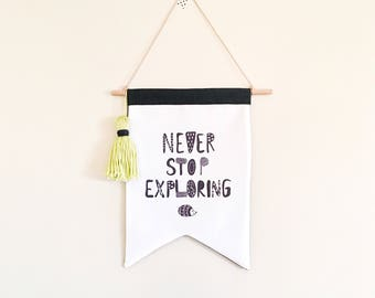 NEW! Kids wall flag - Never stop exploring - Echidna - Adventure - Canvas wall hanging - kids black and white room decor - kookinuts