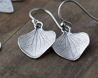 Sterling Silver Petal Earrings | Silver Dangle Earrings | Gift for Women | Bridesmaids Gift Idea | Handmade Jewelry by Burnish