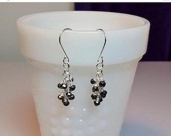 30% OFF SALE thru Sun Tiny Jet Black Spinel Gemstone Cluster Drop Earrings, Christmas Gift, Mom Sister Bridesmaid Jewelry, Gemstone Birthsto