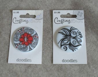 Big Flowered Doodles Buttons, Black, White & Red Round Plastic Buttons (set of 2 buttons)