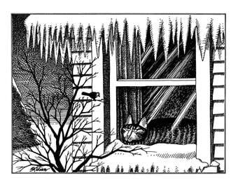 Kliban Cat Cartoon, original vintage art print, winter is coming, indoor cat