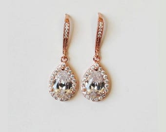 Bridesmaids earrings, Rose gold Tear drop CZ earrings, Bridesmaids gifts, Cubic Zirconia, Gold Bridal earrings, Pear crystal earrings