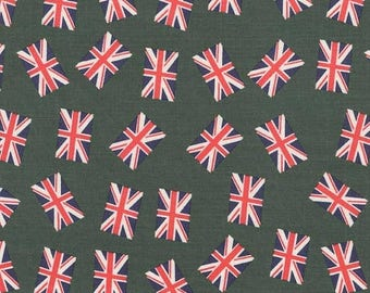 ON SALE 50% OFF Union Jack Fabric - Uk Flag - Green Fabric - Red Fabric - Navy Fabric - Cotton Fabric - Punk Rock - Rockabilly Fabric - On S