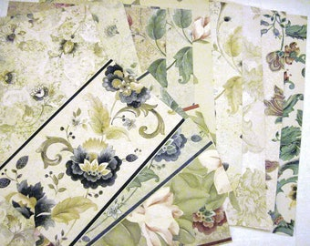 Floral Wallpaper Sheets and Borders For Mixed Media Scrapbooking Jewelry Journals Collages