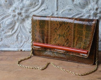 Vintage Snake Skin And Tortoise Shell Convertible Handbag By Palizzie