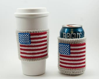 American Flag Coffee Cozy or Beer Coozie, red white and blue, July 4th, linen sleeve,  stars and stripes, cup sleeve, can sleeve