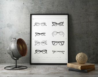 "Eyeglasses Poster Print |  14"" x 18"" Illustration 