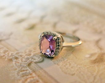 Sterling Silver Art Deco Amethyst Ring Vintage Ring 925 Sterling Ring February Birthstone Ring Size 10 Amethyst Vintage Jewelry