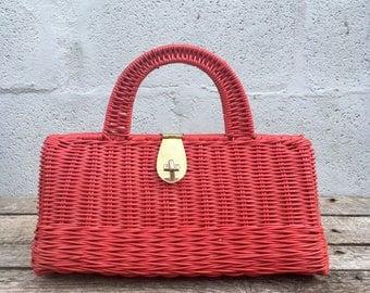 1960's Vintage Red Wicker Top Handle Handbag