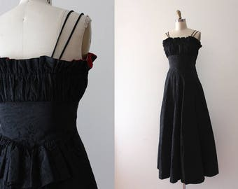 vintage 1930s gown // 30s black acetate evening gown with red