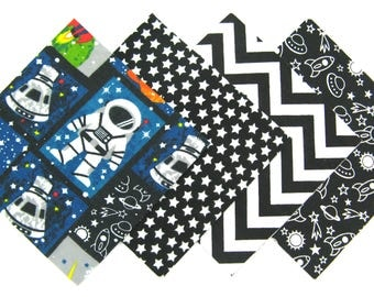 """48 Flannel Fabric Pre Cut 6""""x6"""" Quilt Squares in Black, White and Blue Space Travels, Stars and Chevron Matching Prints"""