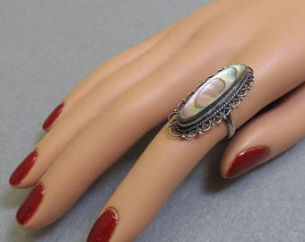Sterling Filigree Abalone RIng,  Size 6.50, Vintage Signed,From Mexico