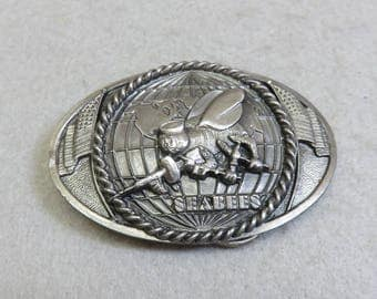 SEABEES Pewter Belt Buckle, Bergamot Brassworks, Signed and Numbered