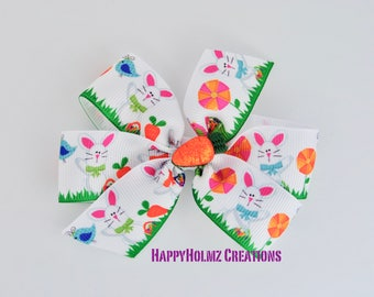 Easter hair bow Easter bunny bow with glitter carrot classic pinwheel bow 3 inch hair bow girls baby no slip Easter bow easter bunny