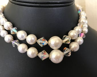 Vintage Signed Laguna Double Strand Choker of Aurora Borealis Crystal and Faux Pearl Beads a 1950's or 60's Bead Necklace