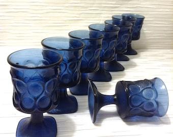 "8 Vintage Noritake Spotlight,  Glass, Wine Glasses. 4 5/8"" Blue Goblets. Mid century modern, Danish Modern, Eames era."
