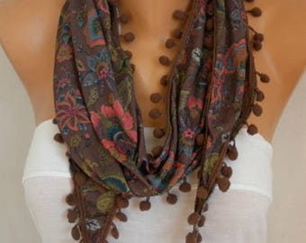Valentine's Day Gift, Brown Floral Tricot Scarf,Pompom Scarf, Bohemian Spring Summer Scarf Cowl Gifts For Her Women's Fashion Accesories