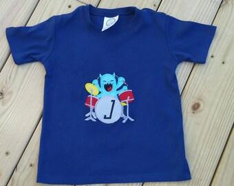 Boys T-shirt, Monster shirt, drums shirt, music shirt