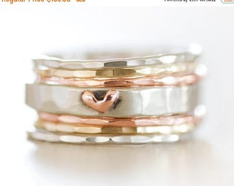 MOON DAY SALE Stacking Rings / Stack Rings / Heart / Gift for Her / Girlfriend / Wife Gift / Anniversary Gift / Stacking Ring Set / Gold Sta