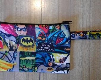 Superhero zip wallet, make up purse, pouch, travel, loop handle, carrier, wrist strap - Batman and Robin