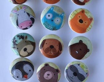SUMMER SALE Woodland dresser pulls wood knobs decorated with cute animal images 1 1/2 inch set of 6