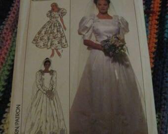 Vintage SIMPLICITY Pattern #9051... sz.10...Wedding Dress & Bridesmaid.....1989....#85...