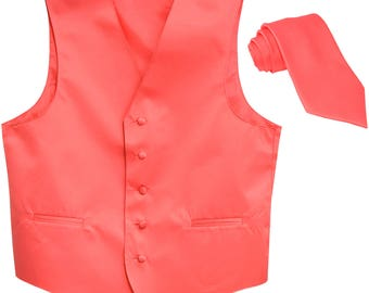 Men's Solid Coral Polyester Tuxedo Vest with Extra long Self Tie Necktie, for Formal Occasions 5XL 6XL