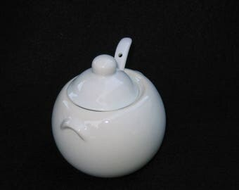 White Ceramic BIA Cordon Bleu Covered Jam or Honey Pot with Serving Spoon