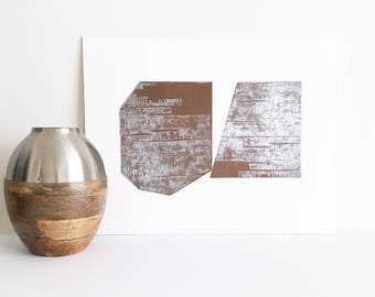 "Original Etching. Intaglio. Modern Art. "" Miter"" in Copper Brown + Silver. unframed. Large Print"