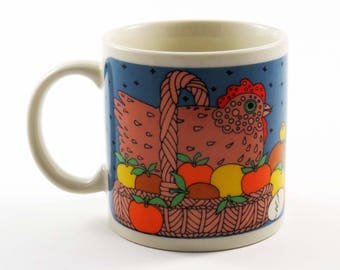 """Vintage CHICKEN in a BASKET Mug by Taylor & Ng of San Francisco 1989 / Classy Critters - 3.5"""" Tall Ceramic / Birthday-Christmas Gift"""