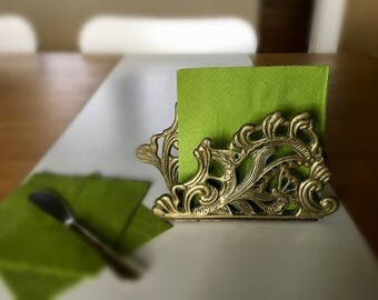 Vintage Brass Napkin Holder Butterfly Ornate Design