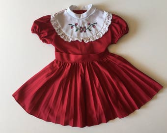 1970's Burgundy Cross Stitch Polyester Dress (4t)