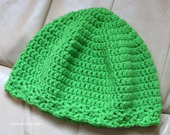 "Cloche Hat - Chemo Cap - Bright Green - Hand Crochet 22"" - 24"" Fits Most Adults - Thinking Reading Bad Hair Day Cancer Therapy - Item 4350"