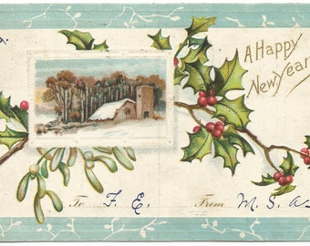 Winter Scene Farm off Lake Countryside Happy New Year Greeting Holly Branches Vintage Postcard Holiday Greeting Card