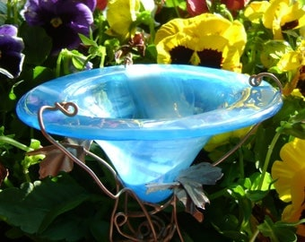 OFFICE Garden Gift, Aqua, stained glass BUTTERFLY FEEDER,  Aqua, copper, garden stake