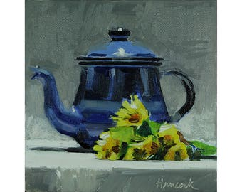 Blue Metal Teapot with Dandelions, Blue Pot Yellow Flowers