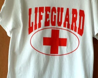 One Dozen Custom Printed Lifeguard T-shirts Red on white 100% cotton