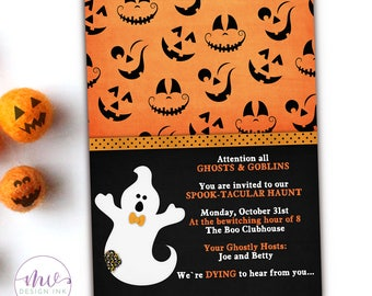 Ghost Halloween Costume Party Invitation, Kids Halloween Costume Invitation, Printable Halloween Costume Party Birthday Invitations, Digital