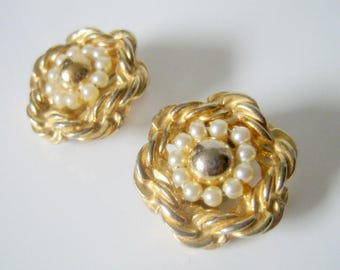 Marvella Gold and Silver Tone Faux Pearl Clip On Earrings, Vintage Earrings