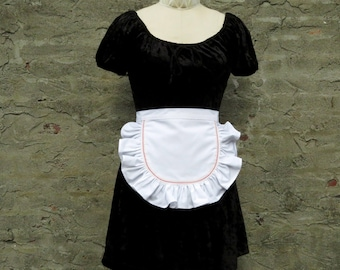 White Ruffled Half Apron Sexy Maid Red Dot Trim Waist Apron