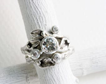 White Topaz, White Sapphire Engagement Ring Set, Leaf Rings, Silver Twig Rings