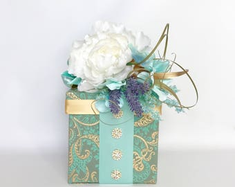Gift Box Paisley Peony Gold Teal Gift Certificate 6 Inch Cube Gift Box Ideas Birthday Gift Certificate Sophisticated Gift Box All Occasions